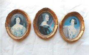 Three Vintage Antique Style Baroque Ornate Gold Picture Frames West Germany