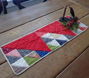 Antique Turkey Red Flying Geese Table Quilt Runner 25x9