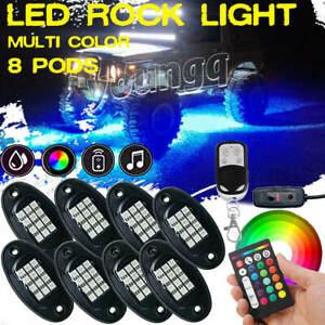 8 Pod Led Rock Light Kit Neon Accent Glow Lamp For Jeep Atv Utv Truck Off road