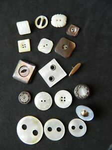 Lot Shapes Of Pearls Mop Shell Buttons Antique Vtg Carved In Metal