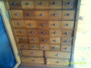 Original Antique Oak 34 Drawer Apothecary File Cabinet With Brass Hardware