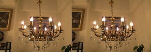 Pair Of Antique Vintage French 8 Arms Crystal Chandelier Lamp Light 1940 S 25 In