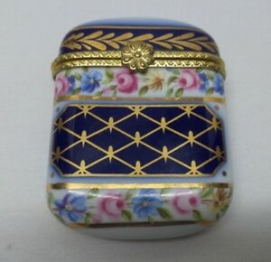 Vintage Antique Hand Painted Floral Cobalt Gold Porcelain Match Safe Vesta Box