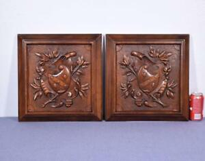 Pair Of 16 Tall French Antique Carved Panels In Walnut Wood W Coat Of Arms