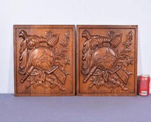Pair Of Vintage French Carved Solid Oak Panels Arts Themed With Centaur 3