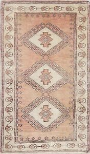 One Of A Kind Vintage Geometric Tribal Oushak Turkish Hand Knotted 2 X3 Wool Rug
