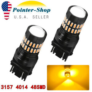 2x 3157 3156 4157 4057 Led Amber Yellow Turn Signal Blinker Corner Light Bulb