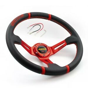 Momo Universal 350mm Suede Deep Dish 14 Racing Sport Red Steering Wheel