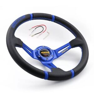 Momo Universal 350mm Suede Deep Dish 14 Racing Sport Blue Steering Wheel