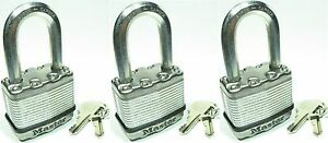 Lock Set By Master M1kalf lot Of 3 Keyed Alike Long Carbide Shackle Magnum