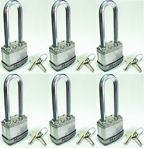 Lock Set By Master M1kalj lot Of 6 Keyed Alike Long Carbide Shackle Magnum