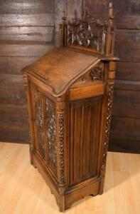 French Antique Gothic Revival Book Display Stand Lectern Cabinet In Walnut