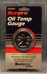 Sunpro 2 Mechanical Oil Temperature Gauge Black Chrome Bezel New Cp7976