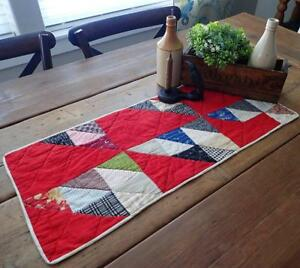 Antique Turkey Red C1880 Flying Geese Table Quilt Runner 28x12