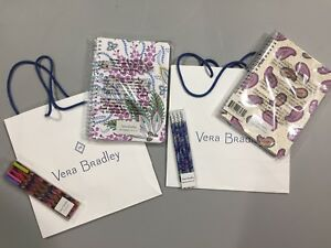 Vera Bradley Mini Notebook Lot 4 Pocket Batik Leaves Twilight Paisley New Pencil