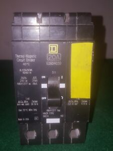 Square D Edb34020 20a 3 Pole 480y 277v Circuit Breaker
