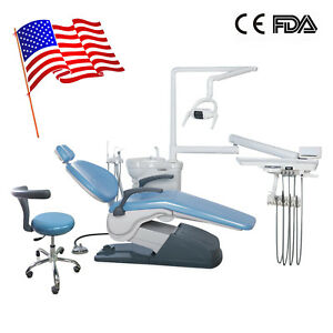 Dental Unit Chair Computer Controlled 110v 4hole Connect Assisant Chair Blue