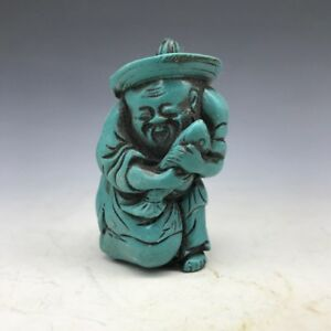 China Turquoise Pure Hand Carved Fisherman Snuff Bottle Hp264