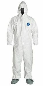pack Of 72 Dupont Ty122s White Tyvek Coverall Bunny Suit Hood