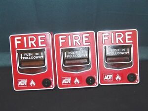 Lot Of 3 Adt Fire Alarm Pull Station Bg 12l Fire Alarm no Keys
