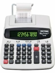 Victor 1310 Big Print Commercial Thermal Printing Calculator Black 6 Lines sec