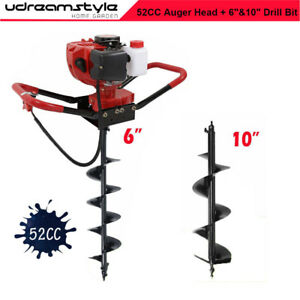 3 4 2 3hp 52cc Gas Earth Post Hole Digger Machine Auger Drill 6