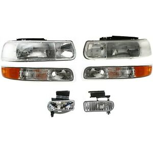 1999 2002 Chevy Silverado 00 06 Suburban Tahoe Headlights Bumper Lamp Fog Lights