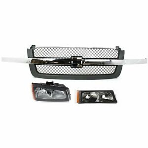 Grille Assembly Kit For 2003 2006 Chevrolet Silverado 1500 Right 3pc