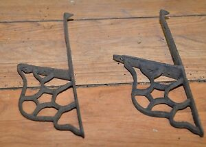 2 Antique Brackets Patented Cast Iron Collectible Early Tool Lot Barn Kitchen