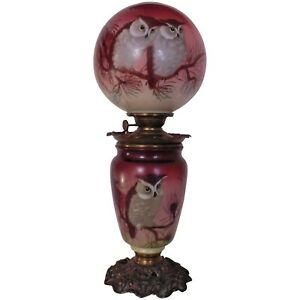 Rare Success 19th C Owl Banquet Lamp Oil Kerosene Converted To Electric Gwtw