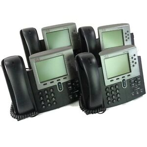 Lot Of 4 Cisco Unified Ip Phone 7900 Series Cp 7961g Lcd Display Voip Telephone
