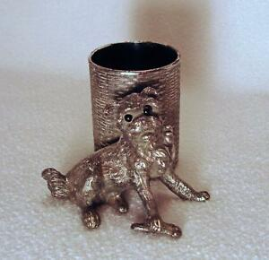 Antique James W Tufts Silverplate Dog With Basket Toothpick Holder Wow