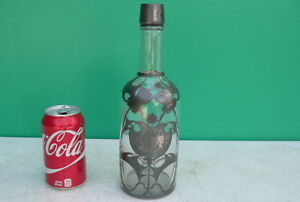 Art Nouveau Thistle Pattern Sterling Silver Overlay Whiskey Liquor Bottle C1900