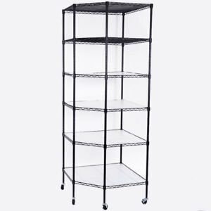 6 Tier Wire Shelving Rack Corner Storage Organizer Adjustable Display Shelf