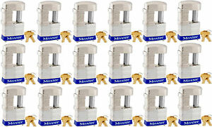 Lock Set By Master 37ka lot Of 18 Keyed Alike Shrouded Laminated Padlocks New