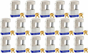 Lock Set By Master 37ka lot Of 17 Keyed Alike Shrouded Laminated Padlocks New