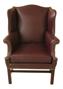46712ec Burgundy Leather Chippendale Style Wing Back Chair