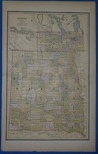 Vintage 1888 Original Dakota Territory Map Old Antique Original Atlas Map11119