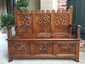 Tall Antique French Carved Oak Hall Bench Chest Gothic Banquette Settle Pew