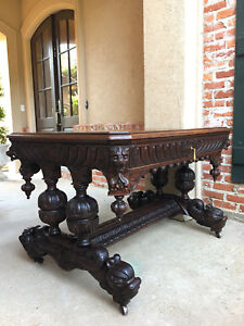 Large Antique French Carved Dark Oak Desk Dolphin Sofa Table Renaissance Gothic