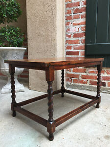 Antique English Oak Barley Twist Bench Coffee Sofa Table Hotel Luggage Pegged