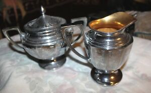 Universal Creamer And Sugar Bowl With Lid Silver Plated Deco Style L