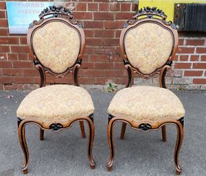 Pair Antique 19th C Satinwood Ebony Carved Victorian Parlour Chairs C 1880