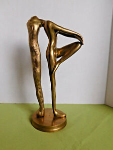 Vintage Brass Art Deco Nude Lady With Long Hair 10 1 4 Tall