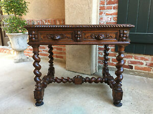 Antique French Carved Oak Barley Twist Sofa End Table Nightstand Writing Desk