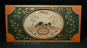 Bless This Home Hand Crafted Wood Cameo Framed Primitive Folk Art Picture