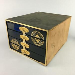 Japanese Lacquer Ware Sewing Box Vtg Wood Haribako Chest Tansu 4 Drawers T150