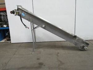 Hydraulic 115 X 8 1 2 Incline Cleated Stainless Steel Small Parts Conveyor