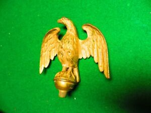 Antique 19th Century Era Ornate Brass Finial Gold Gilt American Eagle Topper