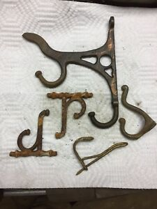 Antique Wall Mount Lot Of Coat Hooks All Steel Or Cast Iron